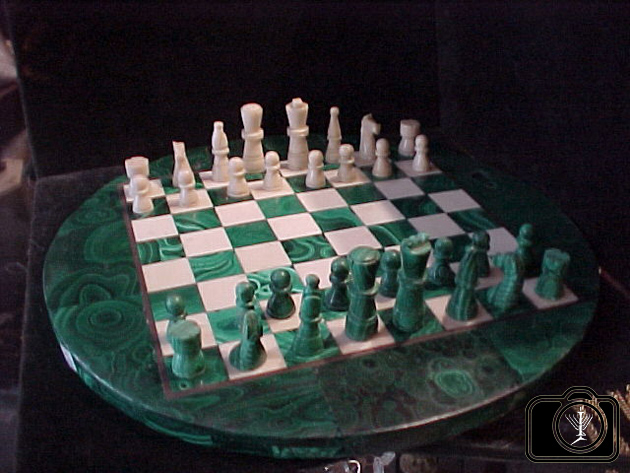 ... Art Deco Magnificent Malachite Round Chess Board